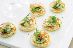 Blini without buckwheat flour. Basil pesto and dill marscapone served with smoked salmon