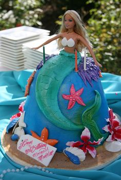 Mermaid doll Cake, My Oma made me doll cakes when I was little :)