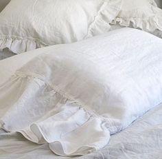 Ruffle Linen Pillowcase Luxury Bedding