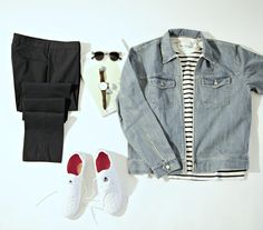 """Denim jacket: Our Legacy  Shirt: Our Legacy  Sneakers: Asfvlt Pants: Incotex Shades: Komono  Watch: Scottsberry (10% off your purchase with promo code """"BOYSINSPIRATION"""" at Neckwear.se)"""