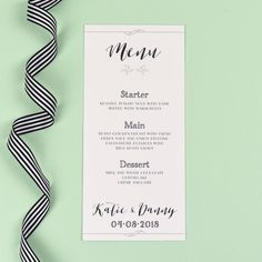 Wedding Menu - Alexa - Monochrome Silhouette Garden - EivisSa Kind Designs, Wedding Stationery West Midlands www.eivissakinddesigns.co.uk