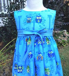 Girls Blue Owl Tea Length Dress with by hollyhockclothing on Etsy, $62.00