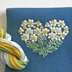 DIY Crewel Embroidery Kit Gift Pouch daisy heart by PrairieGarden