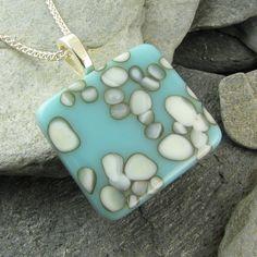 Fused Glass Pendant - Turquoise & Ivory Organic Design. $40.00, via Etsy.