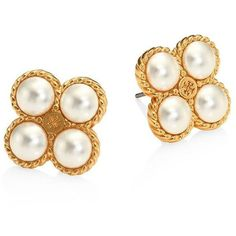 Tory Burch Rope Clover Faux-Pearl Stud Earrings (415 MYR) ❤ liked on Polyvore featuring jewelry, earrings, pearl cluster stud earrings, post earrings, swarovski crystal jewelry, fake stud earrings and fake pearl earrings