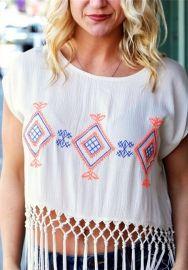 Fashion White O-Neck Short Tassel Print Short Tees & T-shirts