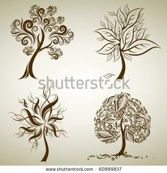 Whole Black Tree With Roots Isolated White Background Vector - 96221198 : Shutterstock