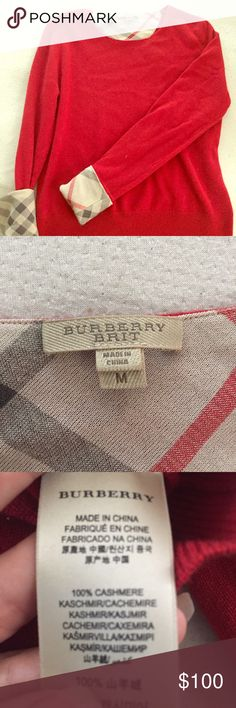 True red Burberry Brit cashmere sweater True red Burberry Brit cashmere sweater. Size medium, runs small!! Very cute and very soft, GUC. Sleeves roll down to be solid red, or fold them up to show the Burberry check. Burberry Sweaters Crew & Scoop Necks