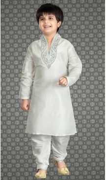 Off White Color Art Silk Readymade Boys Churidar Kurta Set   FH508577464 #boys, #kurta, #sherwani, #pajama, #readymade, #churidar, #kids, #wear, #sherwani, #blazzer, #suits, #indian, #fashion, #boutiques, #heenastyle, #Kids , #traditional, @heenastyle , #mens
