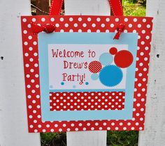 Red and Aqua BOUNCE HOUSE PRINTABLE Party Sign  by LibbyLanePress, $8.00