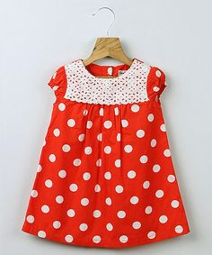 Another great find on #zulily! Red Polka Dot Eyelet Swing Dress - Infant, Toddler & Girls #zulilyfinds