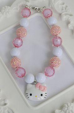 Hello Kitty chunky necklace,Hello Kitty girls necklace, bubblegum necklace, gumball necklace, Hello Kitty gumball necklace on Etsy, $18.00
