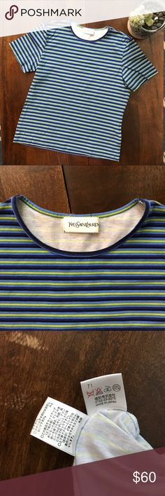 YSL • green and blue striped tee YSL • green and blue striped tee • 88% cotton • reminds me of Jimmy Fallon's tight pants skit! 😂  • great condition! Yves Saint Laurent Tops Tees - Short Sleeve