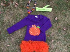 New Girls Halloween Stripe Pumpkin Tutu Outfit Set Necklace Headband 2T 3T 4 5 6 #DressyEverydayHolidayPageant