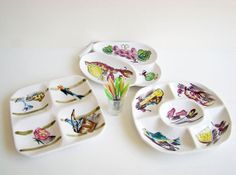 Entertaining Party Serving Plates 1950s  1960s by AboutThePlace, $35.00