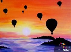 Fifty Barrels Urban Winery and Tasting Room - Paint Nite presents Balloon Race Balloon Race, Hot Air Balloon, Canvas And Cocktails, Balloon Painting, Rock Painting, Couple Painting, Paint Party, Teaching Art, Painting Inspiration