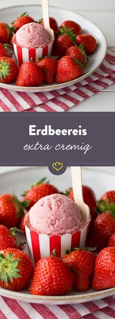 Mit und ohne Eismaschine – die 56 leckersten Eisrezepte Enjoy the classic – with this simple recipe for delicious strawberry ice cream. Or use it as a basis for your own strawberry ice cream variations. Tasty Ice Cream, Diy Ice Cream, Ice Cream Treats, Ice Cream Maker, Cookies And Cream, Ice Cream Recipes, Frozen Yoghurt, Frozen Fruit, Frozen Desserts