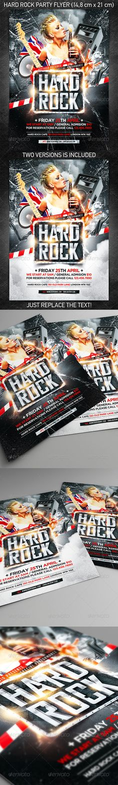 Hard Rock Party Flyer — Photoshop PSD #soul #heavy metal • Available here → https://graphicriver.net/item/hard-rock-party-flyer/7361905?ref=pxcr