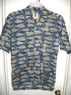 Kahala Hawaiian Islands Blue Fish Button Front Top Shirt Mens Size M Medium #Kahala #ButtonFront