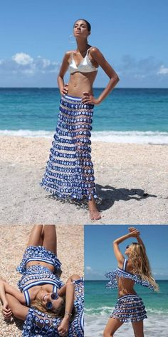 Crochet Beach Dress, Bikinis Crochet, Crochet Bathing Suits, Crochet Skirts, Crochet Cardigan, Crochet Clothes, Knit Crochet, Pantalon Thai, Beachwear Fashion