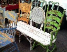 Have to hunt for 3 old chairs! Great idea for a garden bench! Learn how to turn your trash to treasure! Check out our upcycled arts and crafts tutorials with easy pallet projects, recycled crafts, DIY projects & more! Furniture Projects, Furniture Makeover, Wood Projects, Diy Furniture, Outdoor Furniture Sets, Outdoor Decor, Garden Furniture, Antique Furniture, Outdoor Projects