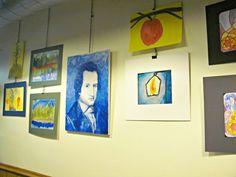 Grades 3-8 artwork on display at Riverwest Co-op in December 2014.