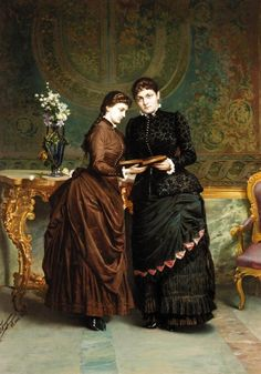 Portrait of Louisa and Aline Bruce of Dyffryn St. Nicholas (1884). Frangiamore Salvatore (Italian, 1853-1915). Oil on canvas.