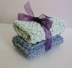 Crochet Washcloth or Dishcloth Set in Stonewash and Country Blue Twist $8.00 #thecraftstar #handmade #washcloths #blue #green #crochet #housewares #bathroom #kitchen