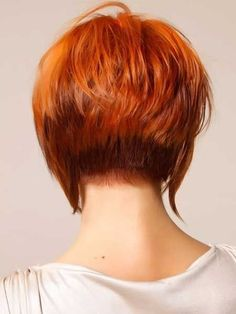 Short Red Stacked Bob Hairstyle