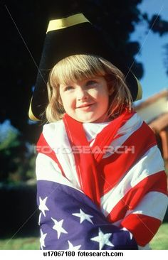 Stock Photography of A little girl draped in an American flag u17067180 - THIS is an acceptable way to be draped in the US flag. *** WRONG. WRONG. WRONG. This is a violation of the US Flag Code. I person should NEVER drape themself in the US Flag. *** Do NOT REPIN without this disclaimer ***