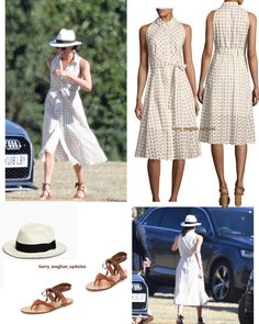 Meghan is wearing sandals by Sarah Flint, Hat by Madewell and a dress by Shoshanna Gruss 'Ashland' dress (here in sand colour already… Meghan Markle Outfits, Meghan Markle Style, Megan Markle Prince Harry, Prince Harry And Meghan, Royal Fashion, Fashion Wear, Kate And Meghan, Princess Meghan, Nice Dresses