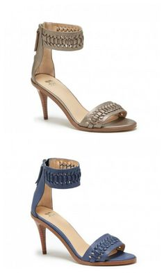 Leather heels by Joe's Jeans. Features a basket woven design with a back zipper, open toe and ankle strap.