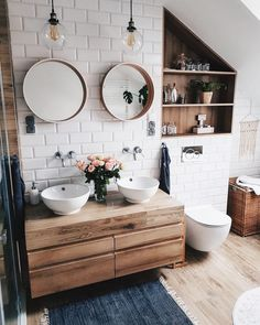 Modern Farmhouse Master Bath Renovation - Obsessed with our vanity spaces! #bathroomideashisandhers