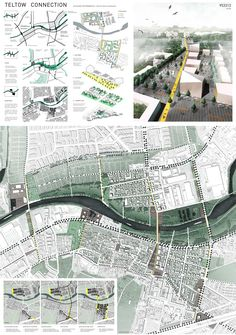 Tatjana Busch & Elisabeth Stieger Teltow Connection, Berlin (DE), via co… Architecture Bauhaus, Le Corbusier Architecture, Landscape Architecture Model, Architecture Portfolio Layout, Architecture Drawing Plan, Water Architecture, Architecture Model Making, Conceptual Architecture, Architecture Presentation Board