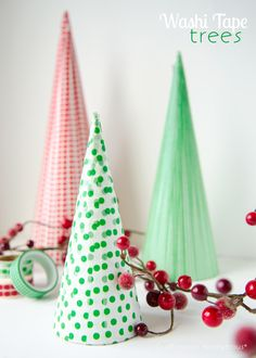 One of the easiest and cutest Christmas crafts! Washi Tape Christmas trees. Fun to make and they turn out stunning. Make these trees for your holiday decor!