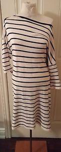 $300 COACH New York Cotton Sweater Stripe Black White Dress Slimming Sz Large