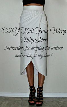 Tasha Delrae: DIY Knit Faux Wrap Tulip Skirt I would rather have it stop shorter like a mini skirt