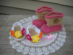 Crochet by Dugan's Girls {Flip Flops & Boot Scoot'n Boots}