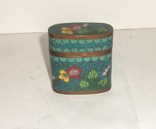 OLD 19TH CENTURY BRONZE CLOISONNE TURQOISE ENAMEL SMALL OPIUM CANISTER JAR BOX