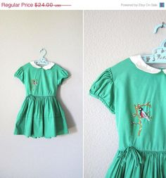 Adorable! #Vintage 1950s Girls Dress // 50s Green by RevolvingStyles