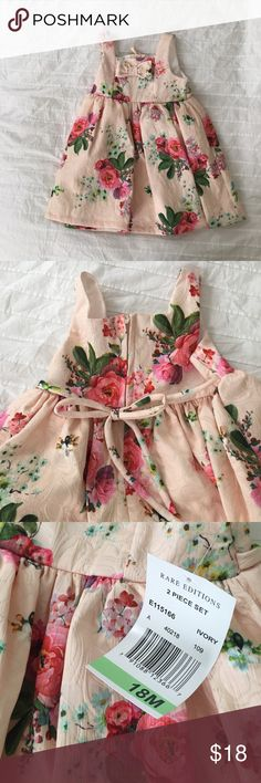 Rare Editions baby dress-size 18months- new w/tags Peach color dress w/floral print, includes white diaper cover bloomers. Brand new! Never worn! Rare Editions Dresses Formal