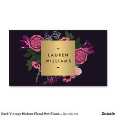 Dark Vintage Modern Floral Motif Luxe Designer II Double-Sided Standard Business Cards (Pack Of 100)