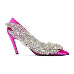 Balenciaga Pink Satin Broderie Heels - Satin heels in fuchsia pink. Embroidered applique featuring sequin and crystal-cut detailing in silver-tone at outer side. Leather sole in black. High Heel Pumps, Pump Shoes, Stiletto Heels, Toe Shoes, Balenciaga Designer, Balenciaga Shoes, Special Occasion Shoes, Satin Pumps, Pink Heels