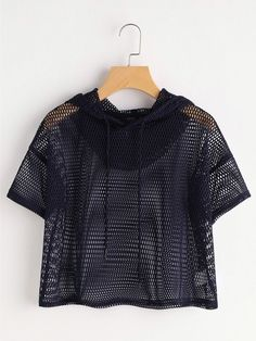 SheIn offers Drop Shoulder Crop Fishnet Hooded Top & more to fit your fashionable needs. Girls Fashion Clothes, Teen Fashion Outfits, Outfits For Teens, Trendy Outfits, Cool Outfits, Girl Fashion, Pull Crop Top, Crop Top Outfits, Korean Outfits