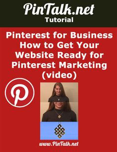 Pinterest for Business – How to Get Your Website Ready for Pinterest Marketing (video) In case you would rather watch and listen to a video on Pinterest for Business than read a Pinterest blog post, I added a new Pinterest for business video to help you prepare your ecommerce website or blog for Pinterest marketing. …