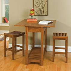 Small Square Brown Wooden Table with Shelf Combined with Brown Wooden Stools