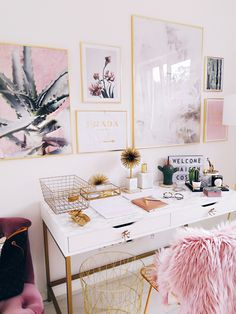 pink office / home design / interiors / gold and pink interiors Office Decor Home Office Design, Home Office Decor, Home Design, Office Ideas, Office Inspo, Design Ideas, Office Designs, Pink Office Decor, Desk Inspo