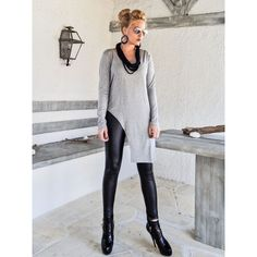 Gray Melange Asymmetric Top Blouse Gray Top Blouse Asymmetric Plus... ($67) ❤ liked on Polyvore featuring tops, blouses, black, dresses, women's clothing, long sleeve blouse, plus size sleeveless blouse, plus size blouses, short-sleeve blouse and long sleeveless blouse