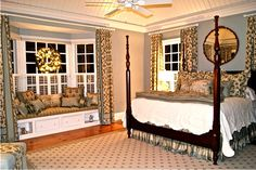 love the layout of this room - that window seat is divine!!