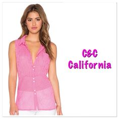 "NWT C&C California tunic style top NWT C&C California sleeveless gingham print tunic. Raspberry Sorbet/white color. It is 99% cotton and 1% spandex., shirttail hem, and fitted silhouette. Front button closures and front patch pocket. Approx measurements are underarm to underarm 21"" and underarm down the side 18"". Keep in mind it's a shirttail hem so it is a bit longer in the middle. This is so cute paired with capris/pants and wedges! C&C California Tops Tunics"